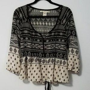 Boho American Rag black white tribal top, sz XL